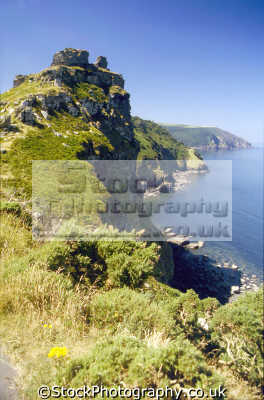 castle rock valley rocks lynton devon. uk coastline coastal environmental exmoor limestone lorna doon lee bay abbey devon devonian england english great britain united kingdom british
