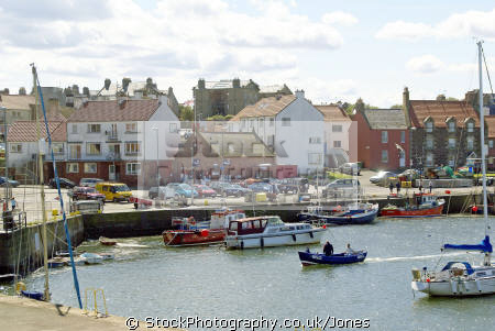 dunbar harbour east lothian scotland. harbor uk coastline coastal environmental fishing boat trawler yacht haven quayside north sea firth forth central scotland scottish scotch scots escocia schottland great britain united kingdom british