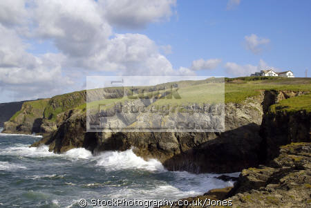rugged coastline route south west coastal path port isaac tintagel cornwall uk. uk environmental gaverne headland sea cliff cave atlantic ocean breakers dramatic cornish england english great britain united kingdom british