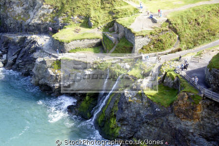 castle beach tintagel cornwall. uk coastline coastal environmental camelot king arthur round table west country tristan isolt mark uther pendragon merlin magician cornwall cornish england english great britain united kingdom british