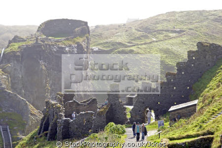 castle tintagel cornwall. british castles architecture architectural buildings uk camelot king arthur round table west country tristan isolt mark uther pendragon merlin magician cornwall cornish england english great britain united kingdom