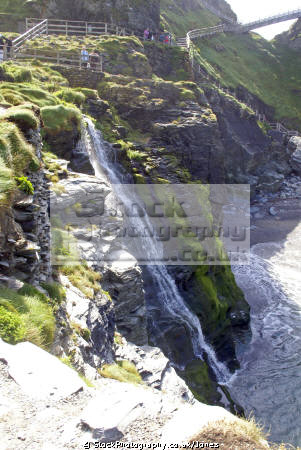 tintagel cornwall. waterfall castle beach. waterfalls cascade cataracts geology geological science misc. camelot king arthur round table west country tristan isolt mark uther pendragon merlin magician cornwall cornish england english great britain united kingdom british