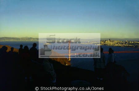 sunset golden gate bridge san francisco california american yankee travel spectators onlookers tourists sf bay marin peninsula county headlands alcatraz franciscan californian usa united states america