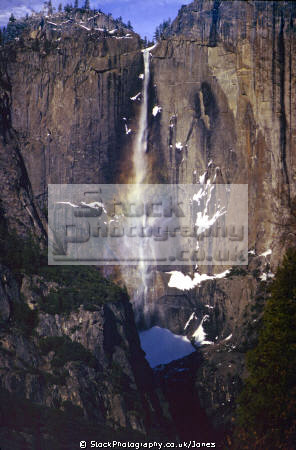 yosemite upper falls. waterfalls cascade cataracts geology geological science misc. valley national park john muir np cataract rainbow california snow winter californian usa united states america american