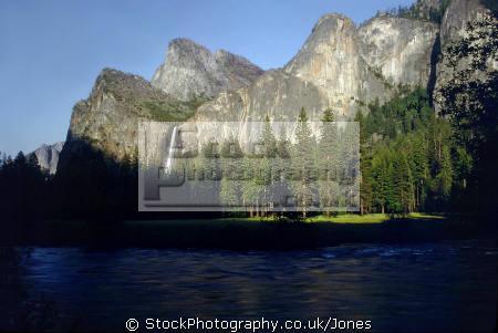 yosemite np. bridalveil falls evening sunlight. california american yankee travel cascade cataract glacial granite hanging valley merced river californian usa united states america