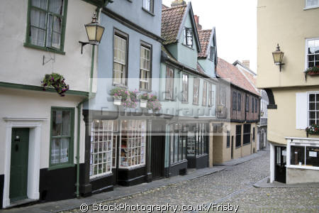 historic medieval houses shops elm hill norwich historical uk buildings history british architecture architectural cobbled street norfolk england english great britain united kingdom