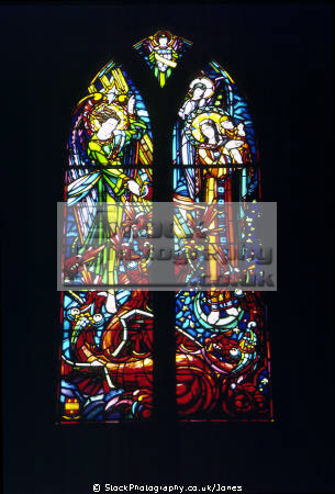 stained glass window abbey mont st michel normandy. depicts slaying dragon french buildings european travel abbeye mediaeval island malo architecture michael touristic basse-normandie basse normandie bassenormandie france la francia frankreich europe