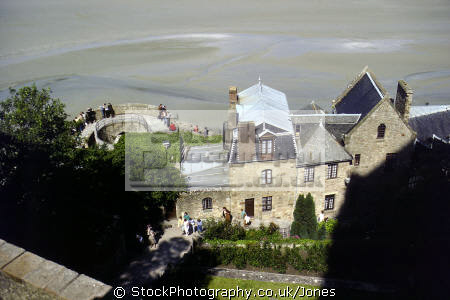 view high mont st michel normandy. french buildings european travel abbeye mediaeval island malo architecture touristic sands tidal basse-normandie basse normandie bassenormandie france la francia frankreich europe