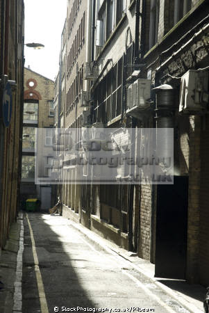 alley streets liverpool. narrow street showing pipes backs buildings uk industrial british architecture architectural road run merseyside scouse england english great britain united kingdom