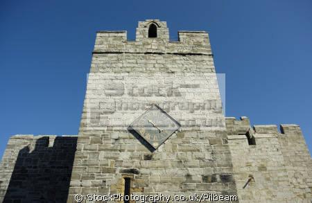 castle clock tower castletown isle man. dates elizabeth hour hand british castles architecture architectural buildings uk time stone walls man manx england english great britain united kingdom