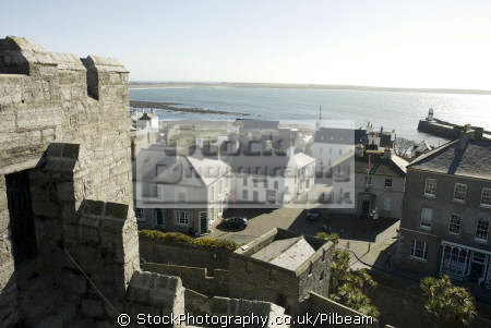 castletown viewed castle rushen looking outer harbour. isle man unusual british buildings strange wierd uk manx iom houses england english great britain united kingdom