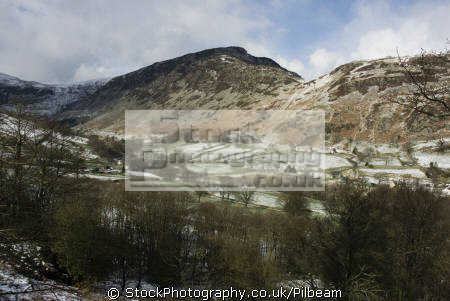 glenridding valley ullswater lake district light dusting snow higher ground bare trees rural britain countryside rustic pastoral environmental uk snowy fields houses farm cumbria cumbrian england english great united kingdom british