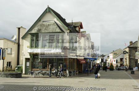 keswick town centre pedestrian area showing cafes shops lake district north west northwest england english uk cafe shopping street cumbria cumbrian great britain united kingdom british