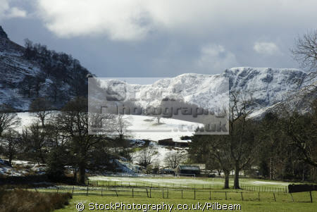 patterdale village green snow distant hills british lakes countryside rural environmental uk fell walking lakeland snowy cumbria cumbrian england english great britain united kingdom