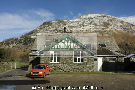 patterdale village hall fells background british lakes countryside rural environmental uk fell walking lakeland hills snowy cumbria cumbrian england english great britain united kingdom