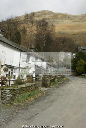 cottages lane patterdale lake district british lakes countryside rural environmental uk fell walking lakeland hills cumbria cumbrian england english great britain united kingdom