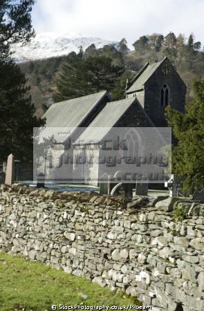 patterdale church churchyard british lakes countryside rural environmental uk walking lakeland stone wall cumbria cumbrian england english great britain united kingdom
