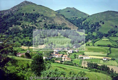 typical scenery pays-basque pays basque paysbasque area france foothills pyrenees. french european travel pyrénées-atlantiques pyrénées atlantiques pyrénéesatlantiques aquitaine mountain valley village la francia frankreich europe