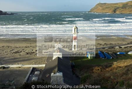 port erin beach lighthouse sunny windy winter morning seafront uk coastline coastal environmental harbour manx iom sand seaside isle man england english great britain united kingdom british