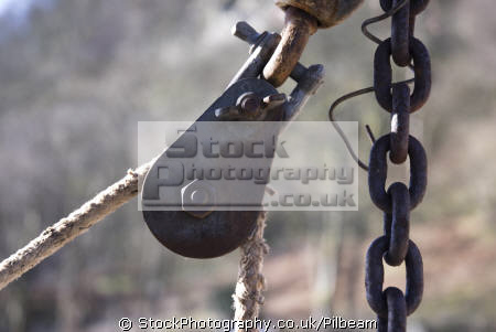 rope pulley metal chain lake glenridding district tools tooling abstracts misc. focus sharp cumbria cumbrian england english great britain united kingdom british