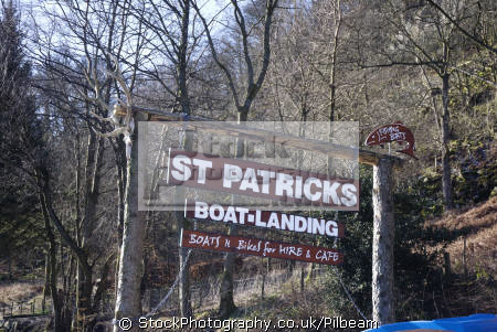 st patricks boat hire sign ullswater lake district north west northwest england english uk hiring boating cumbria cumbrian great britain united kingdom british