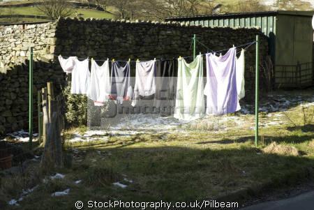 washing line glenridding lake district north west northwest england english uk fells house garden cumbria cumbrian great britain united kingdom british