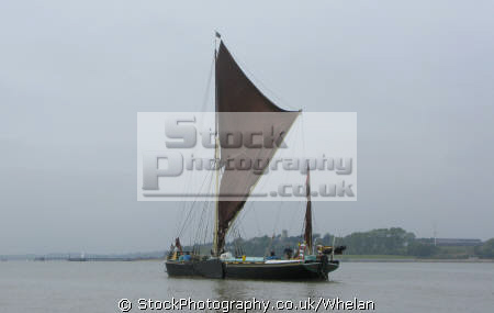 old thames barge fully restored sailing river stour near harwich uk rivers waterways countryside rural environmental essex england english great britain united kingdom british