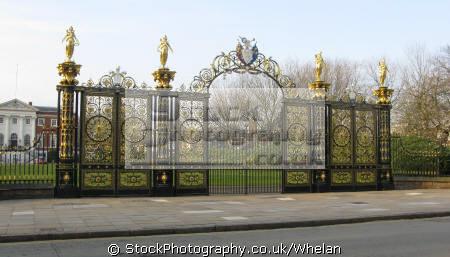 warrington town hall gates uk halls government buildings british architecture architectural cheshire lancashire lancs england english great britain united kingdom