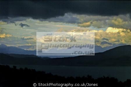 hardangerfjord norway taken showery summer evening. european travel norge folgefahhne folgefonna glacier bergen gloomy overcast oppressive stormy kongeriket europe norwegan