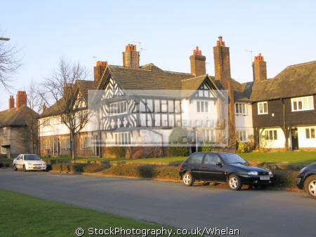 port sunlight garden village founded 1888 william hesketh lever house soap factory workers. designated conservation area original boundaries. unusual british buildings strange wierd uk birkenhead merseyside scouse england english great britain united kingdom
