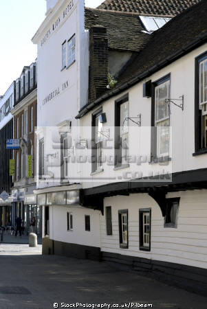 golden lion pub showing weatherboarding overhanging upper storey. public houses tavern bar alchohol british architecture architectural buildings uk old wooden traditional drinking essex england english great britain united kingdom