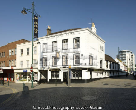 golden lion pub centre romford town traditional serving real ales public houses tavern bar alchohol british architecture architectural buildings uk old wooden drinking essex england english great britain united kingdom
