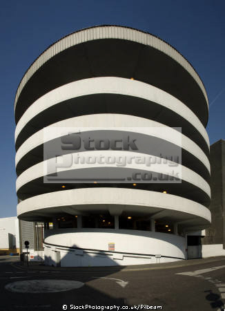 spiral exit ramp car park. sixties architecture. uk shopping centres retailers trade centers commercial buildings british architecture architectural shops parking parks spirals essex england english great britain united kingdom