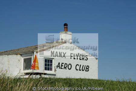 manx flyers clubhouse ronaldsway isle man aircraft flying transport transportation uk club iom lettering building england english great britain united kingdom british