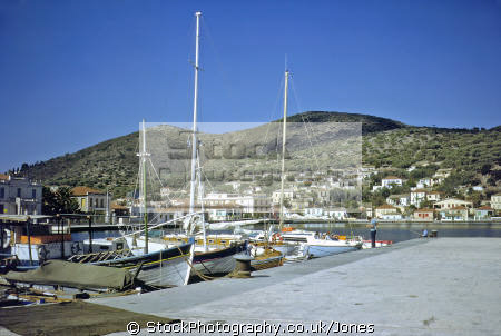 harbour port vathi island ithaca greek european travel odysseus homer kefalonia ithaki ionian greece isle europe