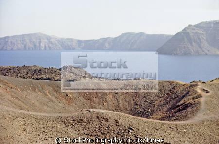 crater volcano nea kameni near santorini volcanic volcanoes geology geological science misc. aegean sea greek cyclades atlantis minoan caldera pumice basalt lava greece europe european
