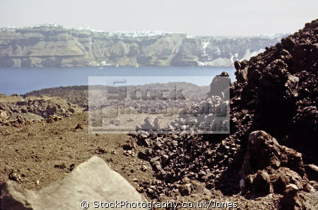 crater volcano nea kameni near santorini greece volcanic volcanoes geology geological science misc. aegean sea greek cyclades atlantis minoan caldera pumice basalt lava europe european