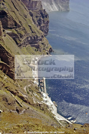 cliffs south thera island santorini greece greek european travel aegean sea cyclades atlantis minoan caldera volcano pumice basalt lava europe