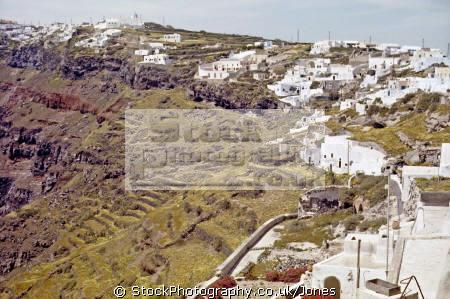cliffs north thera island santorini greece greek european travel aegean sea cyclades atlantis minoan caldera volcano pumice basalt lava europe