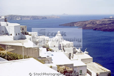 town thera island santorini greece greek european travel aegean sea cyclades atlantis minoan caldera volcano pumice basalt lava nea kameni europe