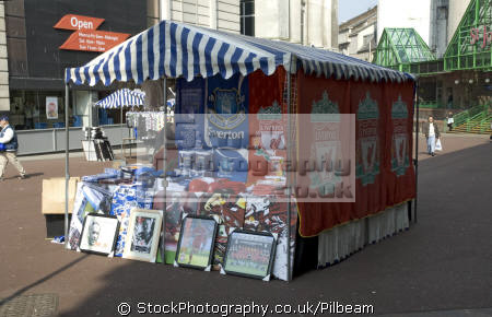 stall street selling liverpool everton football merchandise retailers brands branding uk business commerce market footie red blue kit merseyside scouse england english great britain united kingdom british