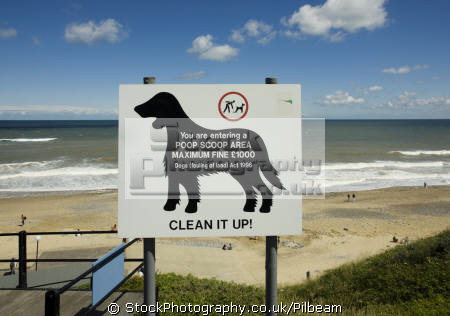 clean sign cromer beach norfolk british beaches coastal coastline shoreline uk environmental dog walking pooh mess pick england english great britain united kingdom