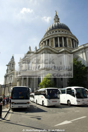 tourist coaches lined outside st pauls cathederal london buildings architecture capital england english uk church wren building dome city cockney great britain united kingdom british