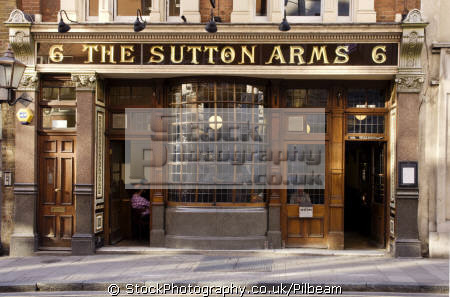 sutton arms pub near smithfield meat market barbican london public houses tavern bar alchohol british architecture architectural buildings uk drinking outside ale beer city cockney england english great britain united kingdom