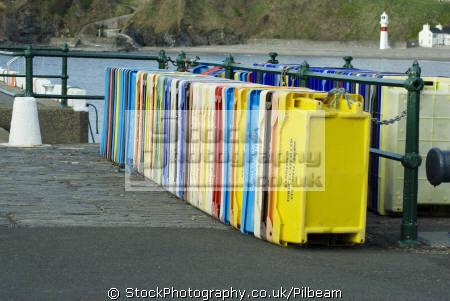 coloured fishing crates port erin isle man boats marine misc. manx bay sea seaside town england english great britain united kingdom british