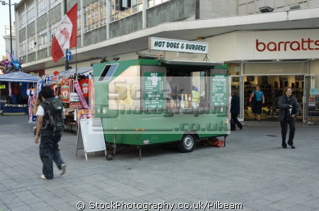 burger van shopping streets liverpool selling hot food people eating mastication nutrition ingestion digestion meals human activities persons fast retail shops shoppers merseyside scouse england english great britain united kingdom british