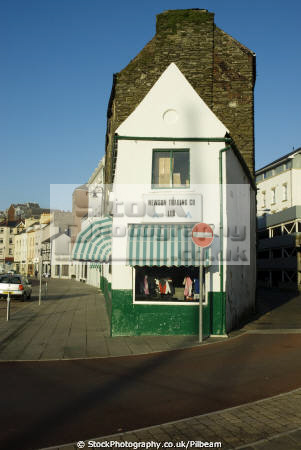 narrow retail shop roads meet north quay douglas harbour uk shops commercial buildings retailers british architecture architectural road meeing isle man manx england english great britain united kingdom