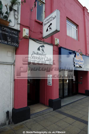 romford snooker club entrance door south east towns southeast england english uk game essex great britain united kingdom british