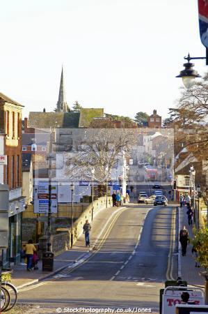 evesham looking east river avon port street uk towns environmental bridge church worcestershire england english great britain united kingdom british