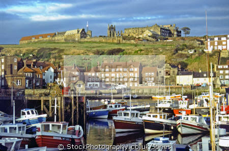 whitby yorkshire looking harbour river esk abbey harbor uk coastline coastal environmental port quay captain james cook fishing boats new road england english great britain united kingdom british